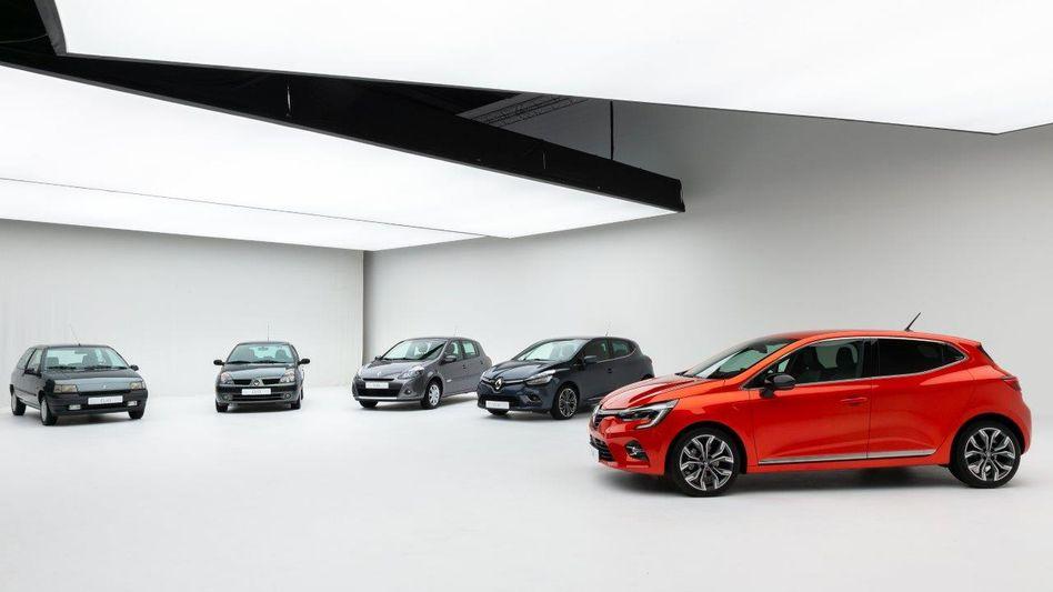 Renaults Kleinwagen Clio mit seinen Vorfahren