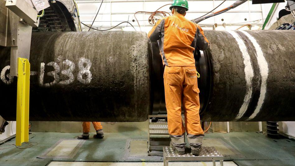 """Auf dem Verlegeschiff """"Audacia"""" wurden und werden im Fließbandverfahren Rohre für die Gaspipeline Nord Stream 2 verschweißt und auf dem Grund der Ostsee verlegt"""