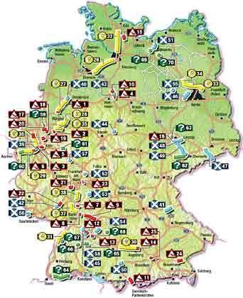 Buntes Treiben: Die ADAC-Karte der gefährdeten Verkehrsprojekte listet 70 Brennpunkte auf