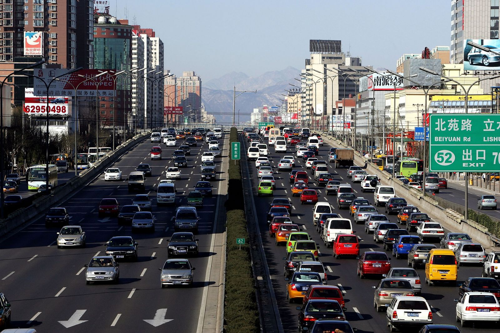 Strassenverkehr Peking / Autoverkehr