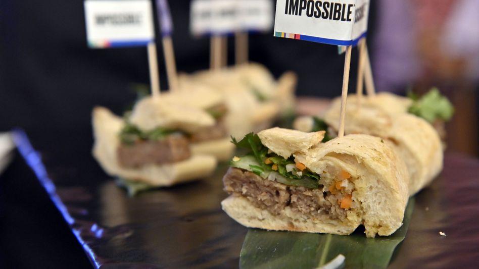 Vegetarische Snacks: Schwein Banh Mi auf der Pressekonferenz von Impossible Foods auf der CES