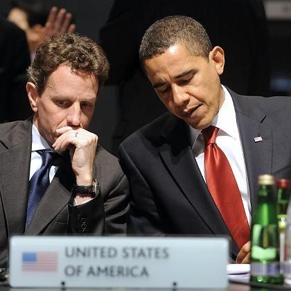 """Präsident Obama (rechts), US-Finanzminister Geithner: """"Die Führung übernehmen, Exzesse künftig verhindern"""""""