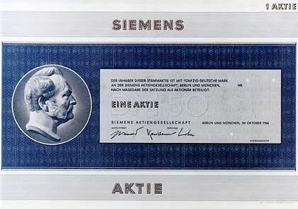 Neuordnung: 1966 schlossen sich Siemens & Halske, Siemens-Schuckertwerke und Siemens-Reiniger-Werke zur heutigen Siemens AG zusammen.