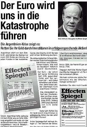 Gegen den Euro: Anzeige von Bolko Hoffmann
