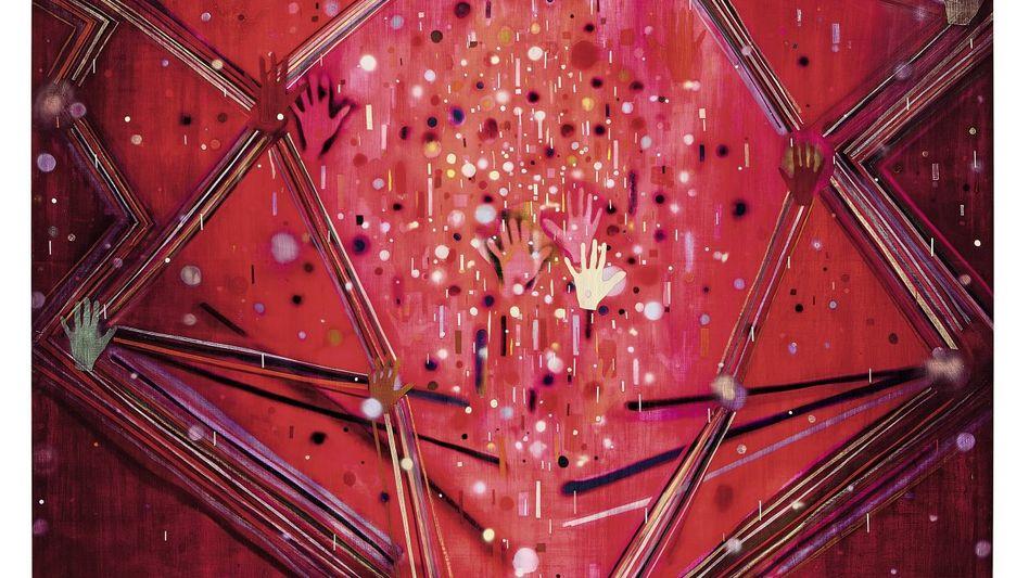 """""""Ecstatic Contact"""": Kunstwerk von Jules de Balincourt, 2012, Öl, Acryl und Sprühfarbe auf Holz, 243,8 x 304,8 cm"""