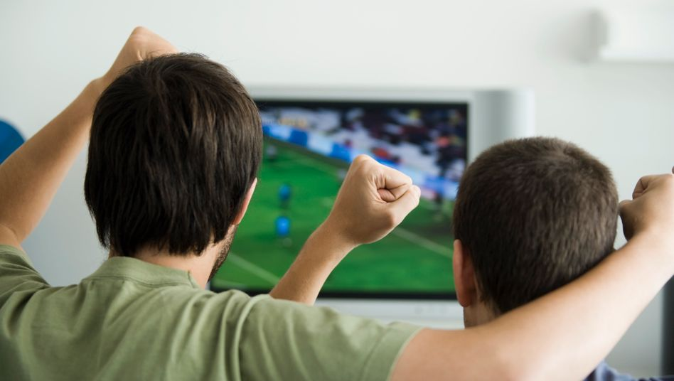 Two males watching sports on television, fists raised in air, rear view --- Image by © Ale Ventura/PhotoAlto/Corbis