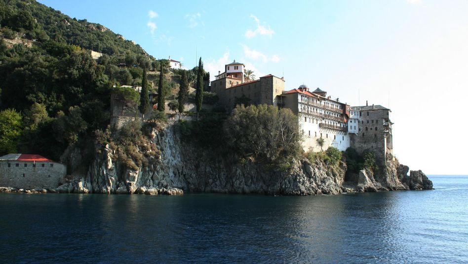 Halbinsel Athos mit Kloster: Die Polizei startete einen Großeinsatz