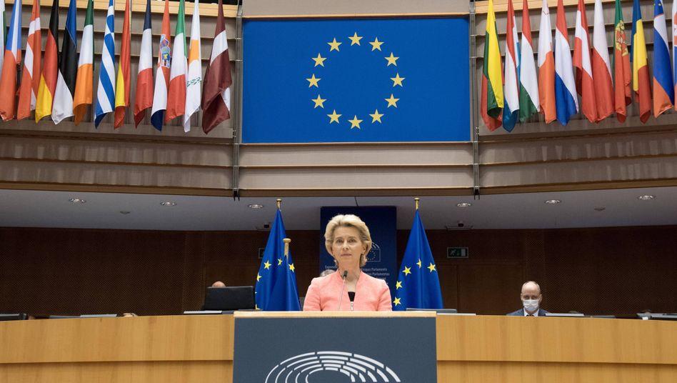 EU-Kommissionspräsidentin Ursula von der Leyen bei ihrer Rede zur Lage der Europäischen Union am 16. September