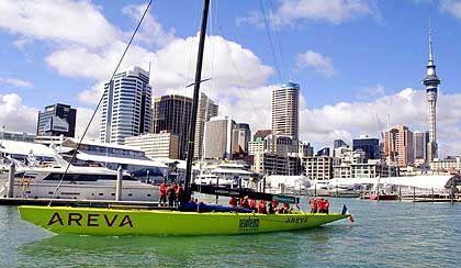 Außenseiter mit schmalen Budgets: das Le Défi Areva im Hafen von Auckland, Neuseeland