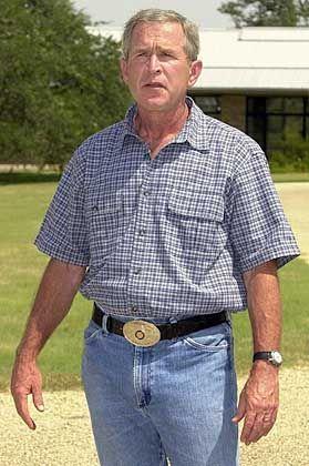 Rustikal: US-Präsident Bush im Western-Look