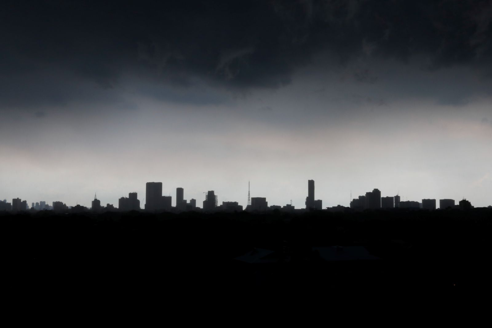 Skyline amid heavy rain in Quezon City