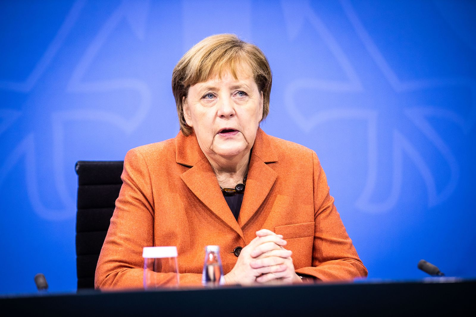 Presser after German Chancellor Merkel's video conference with German State Premiers about coronavirus measures, Deutschland, Germany - 13 Dec 2020