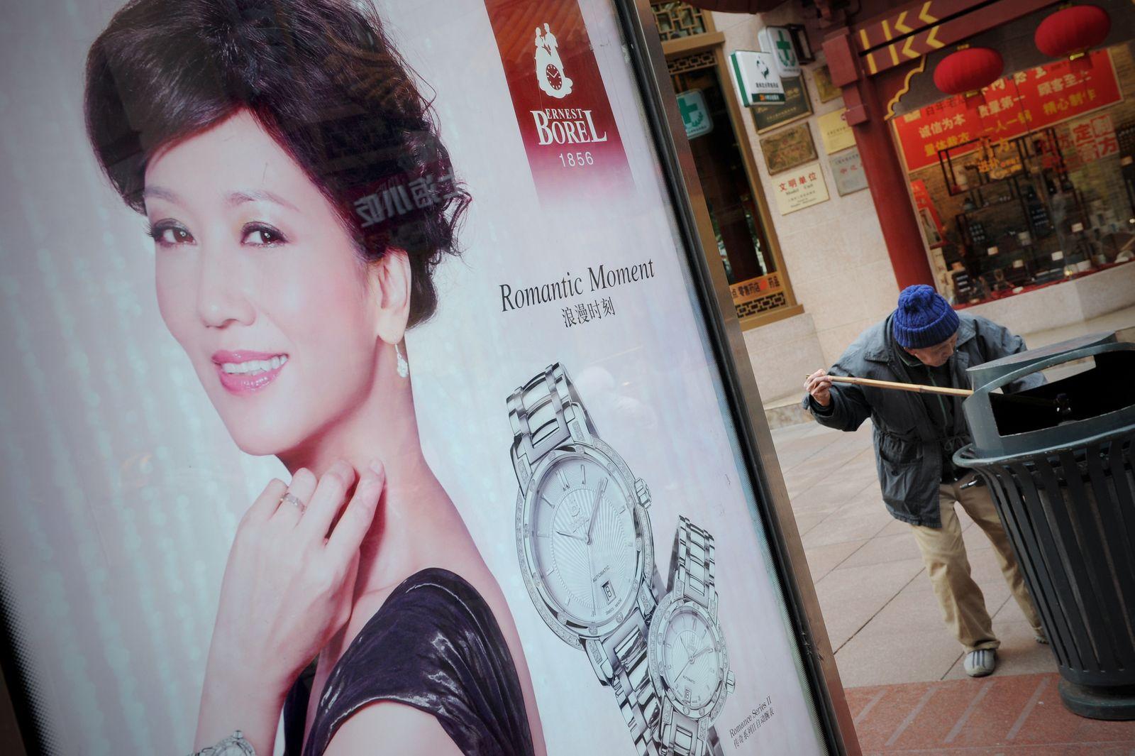 China Wirtschaft / Anfall / Luxuswerbung Plakat / Schmuck / Arm und Reich