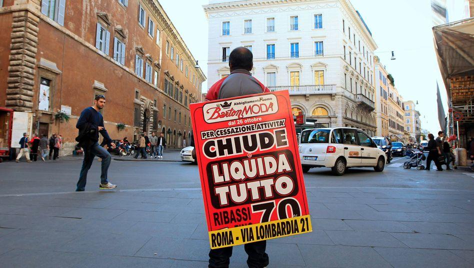 Ausverkauf: Italien droht eine Rezession. Damit wird es noch schwieriger, den Haushalt zu sanieren und einen Teil des Schuldenberges abzutragen