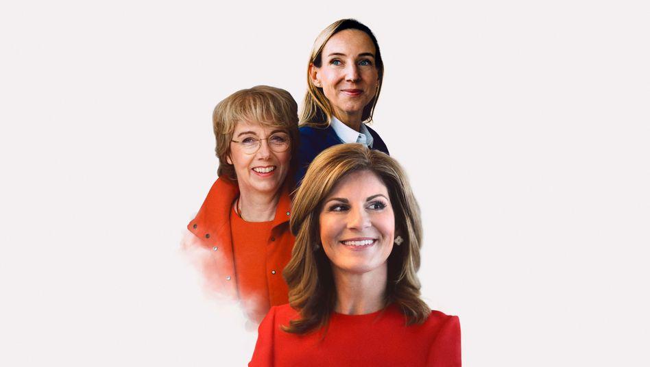 Die ihre Frau stehen:Simone Bagel-Trah(oben) leitet den Aufsichtsrat von Henkel seit zehn Jahren.Jennifer Morgan(SAP) ist Deutschlands erste Dax-CEO.Martina Merz(links) soll in gleicher Funktion Thyssenkrupp retten.