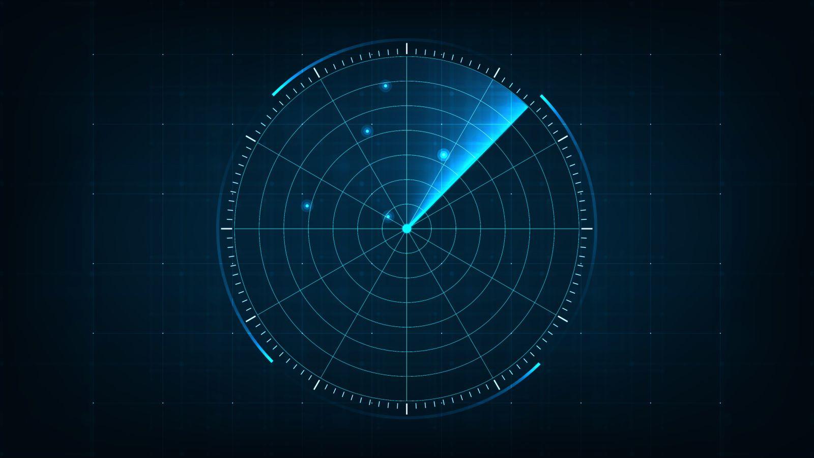 Digital Composite Image Of Radar Against Black Background