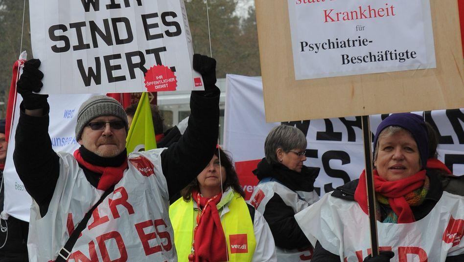 Angestellte: Vergangenen Donnerstag demonstrierten bereits Angestellte in Potsdam