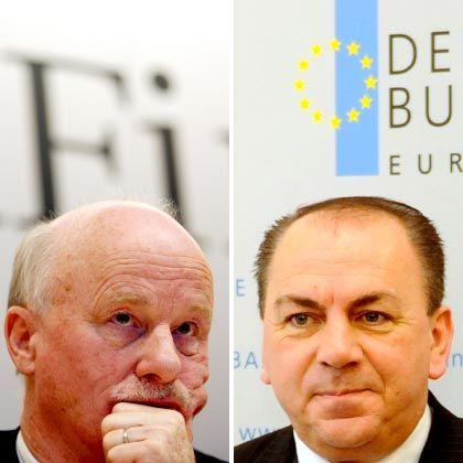 Wird bald gegen sie ermittelt? Bafin-Chef Sanio (l.) und Bundesbank-Chef Weber waren bei der Rettung der HRE involviert