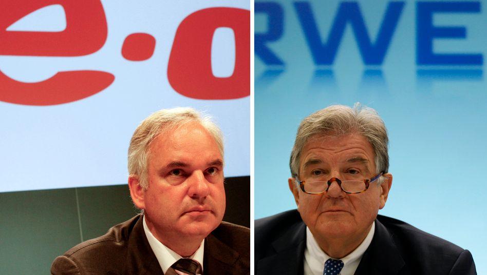 Mögliches Duo: Eon-Chef Johannes Teyssen (l.) und RWE-Chef Jürgen Grossmann könnten nach Ansicht von EU-Kommissar Oettinger fusionieren