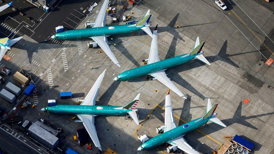 Geparkte 737-Max-Flugzeuge auf dem Boeing-Werksgelände in Renton, US-Staat Washington