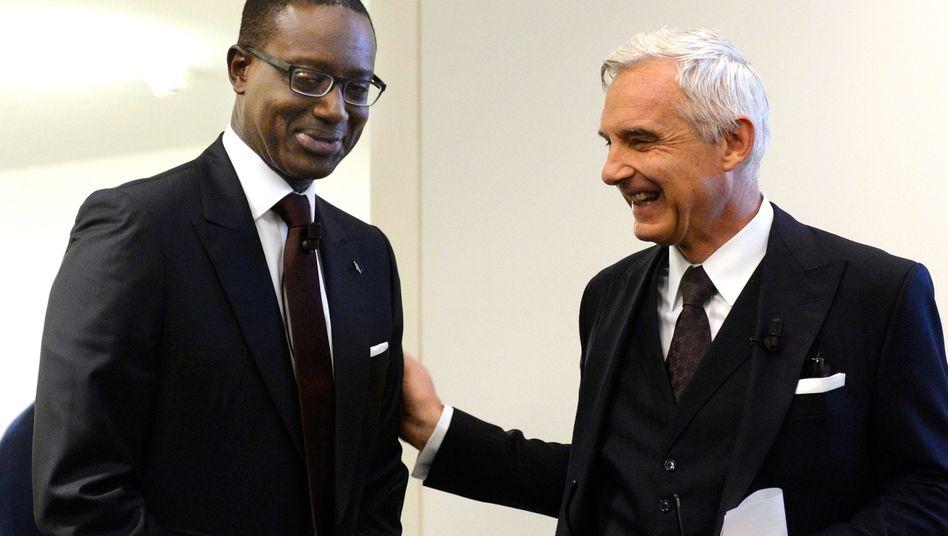 Ein Bild aus besseren Tagen: Credit-Suisse-Chef Tidjane Thiam (l) mit Verwaltungsratspräsident Urs Rohner (2015)
