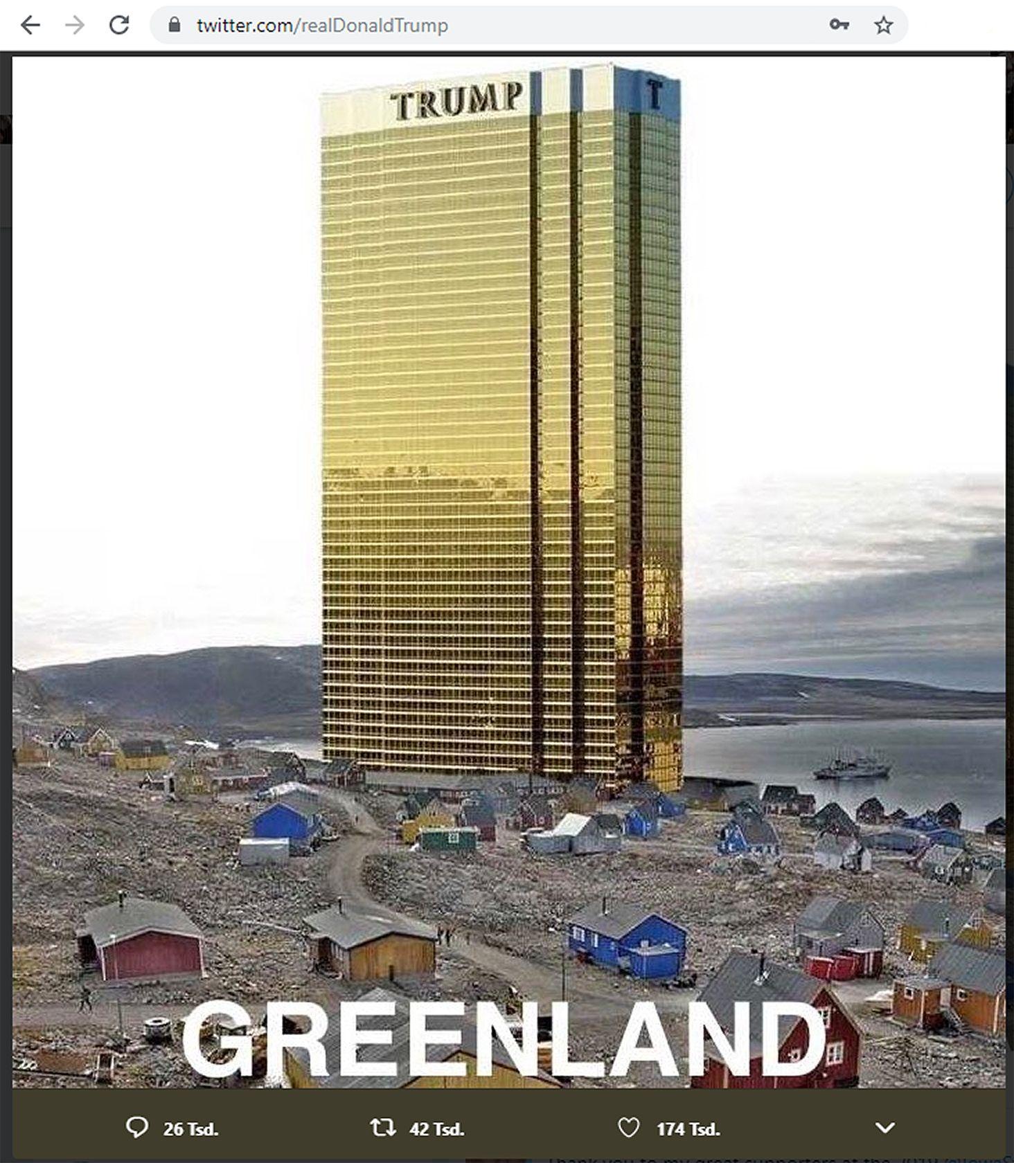 EINMALIGE VERWENDUNG SCREENSHOT Twitter Trump Greenland