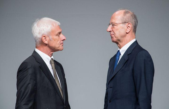 VW-Chef Matthias Müller, Aufsichtsrat Hans Dieter Pötsch: Strenger fordert, die Entlastung für Vorstand und Aufsichtsrat zu verweigern