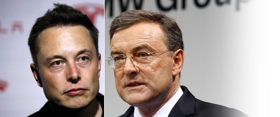 Attacke aus Amerika: Tesla-Chef Elon Musk (l.) fordert auch BMW und seinen Chef Norbert Reithofer in Deutschland heraus