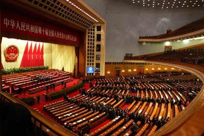 Auszug der Delegierten: Die Große Halle des Volkes in Peking am Ende des jährlichen Volkskongresses