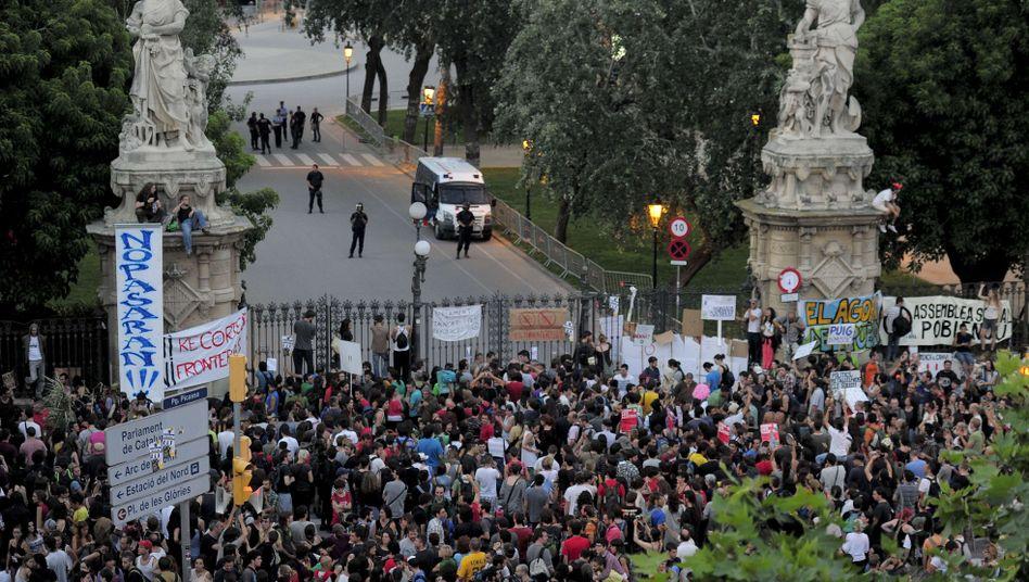 Proteste in Madrid (am Dienstag): Ärger über Sparmaßnahmen der Regierung