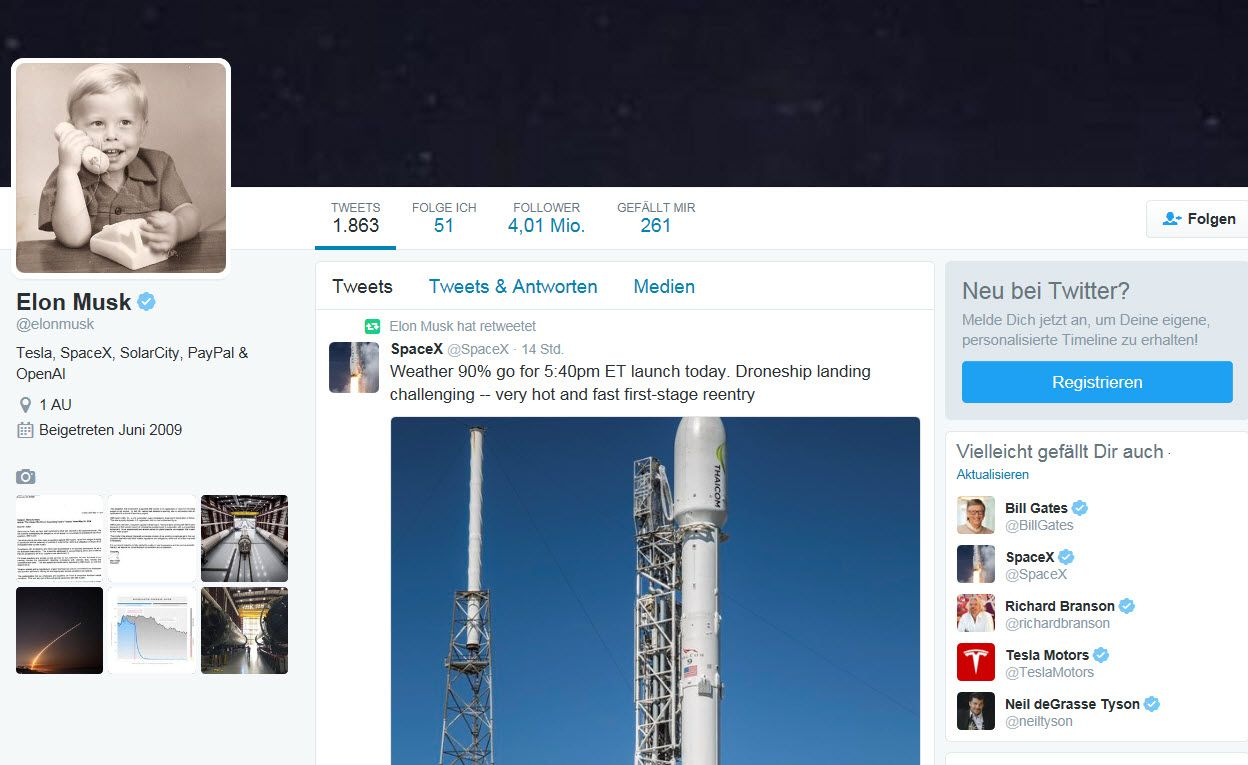 NUR ALS ZITAT Twitter Account Screenshot Elon Musk