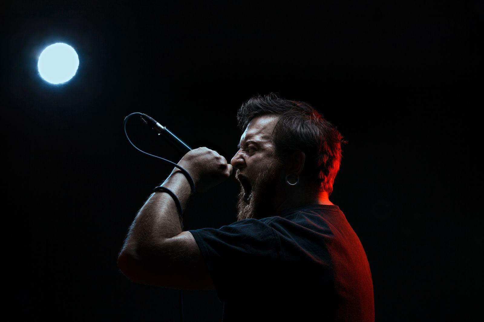 Portrait of singing rocker