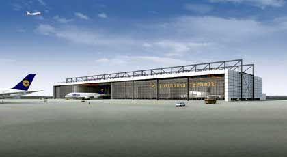 Geplante Airbus-Wartungshalle: Fertigstellung bis Herbst 2007
