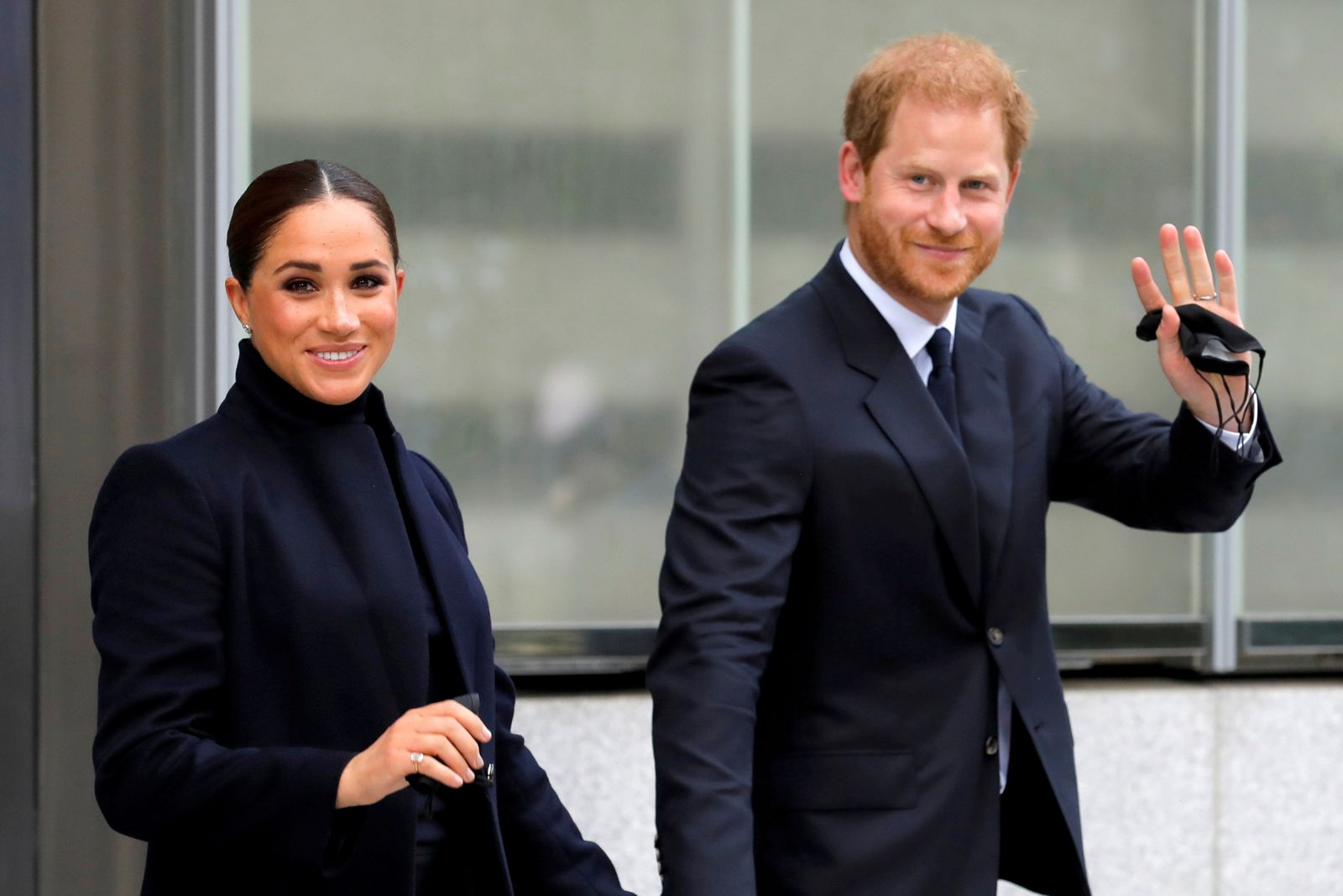 FILE PHOTO: Britain's Prince Harry and Meghan, Duke and Duchess of Sussex, visit One World Trade Center in Manhattan, New York City