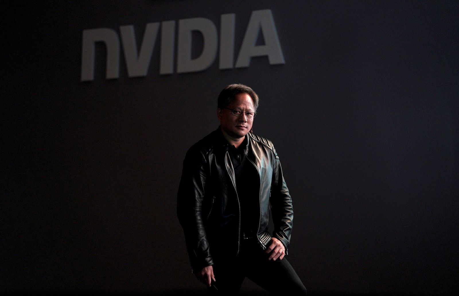 FILE PHOTO: Jensen Huang, CEO of Nvidia, pauses at his keynote address at CES in Las Vegas