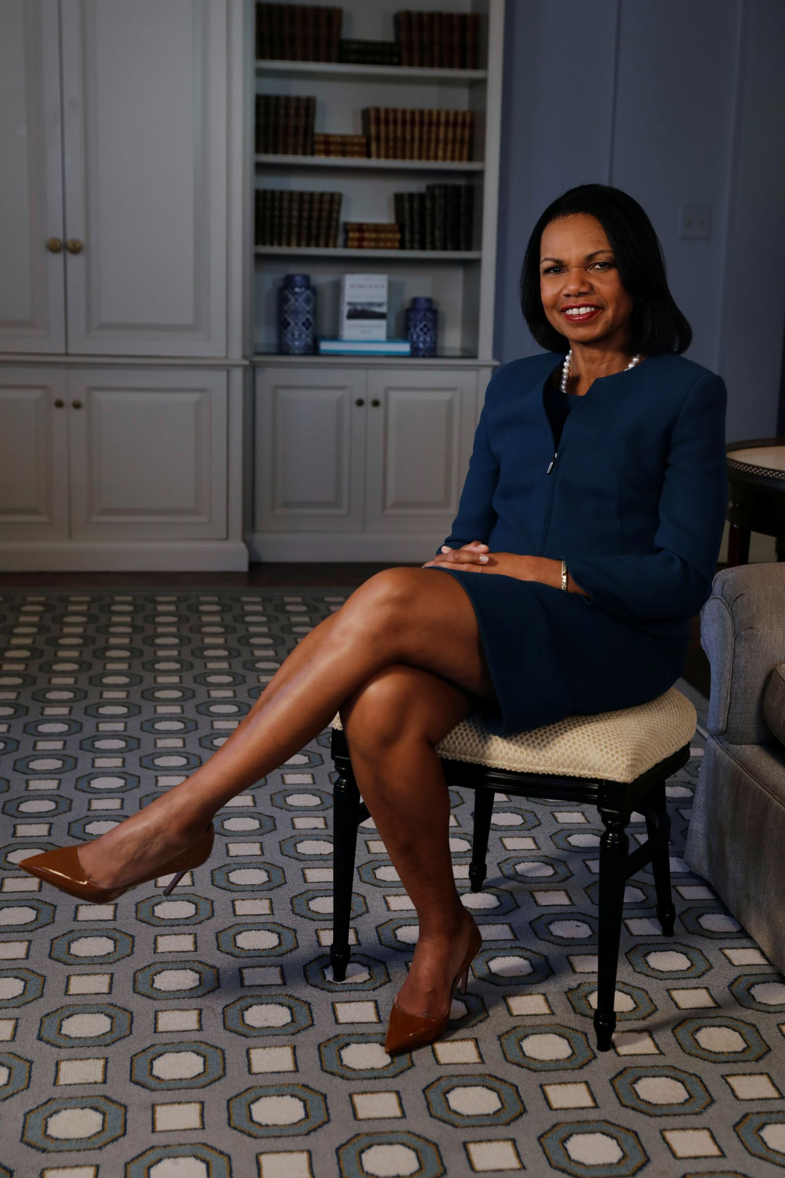 "Former U.S. Secretary of State Condoleezza Rice poses for a portrait while promoting her new book, ""Democracy: Stories from the Long Road to Freedom"" in New York"