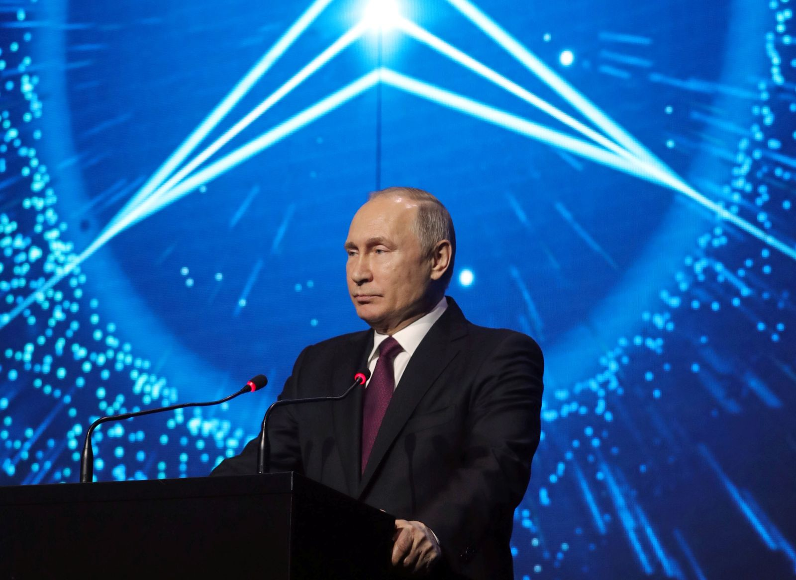 Russian President Vladimir Putin attends the opening ceremony of a Mercedes Benz automobile assembly plant outside Moscow