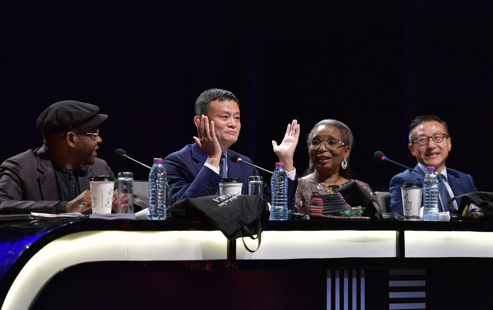 ACCRA, GHANA - NOVEMBER 16: Alibaba founder Jack Ma (2nd L) and Joe Tsai (R), co-founder and executive vice chairman of