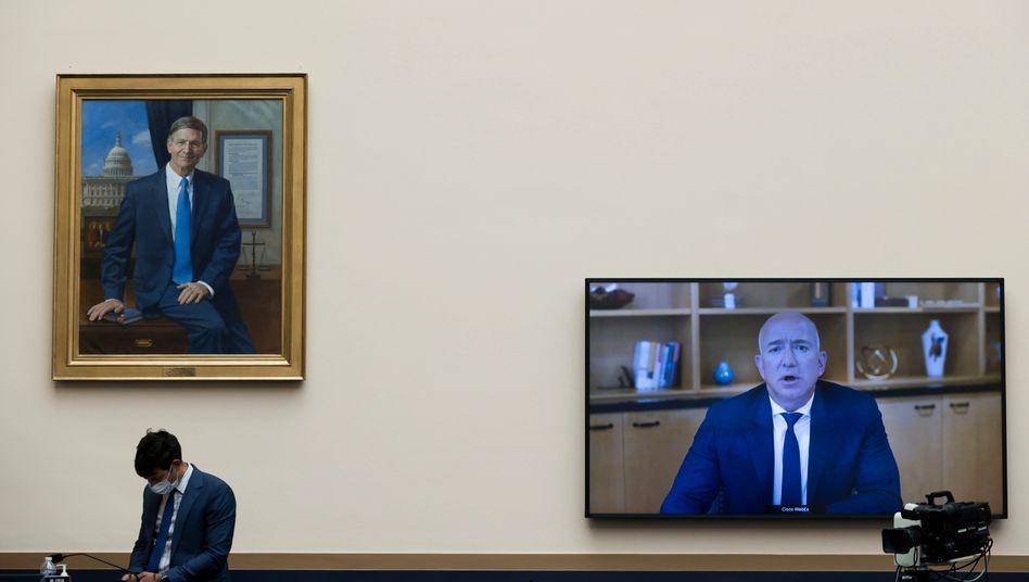 Videokonferenz: Amazon-CEO Jeff Bezos am Donnerstag (Ortszeit) auf dem Capitol Hill