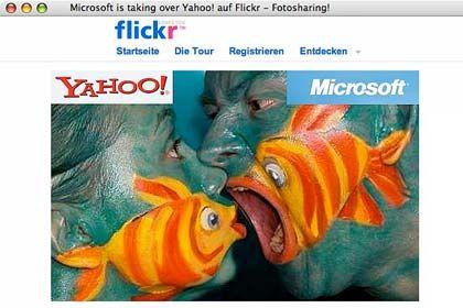 Geschluckt werden, nicht rumknutschen: Mit Fotomontagen protestieren Nutzer der Bilder-Plattform Flickr, die zu Yahoo gehört, gegen eine Übernahme durch Microsoft