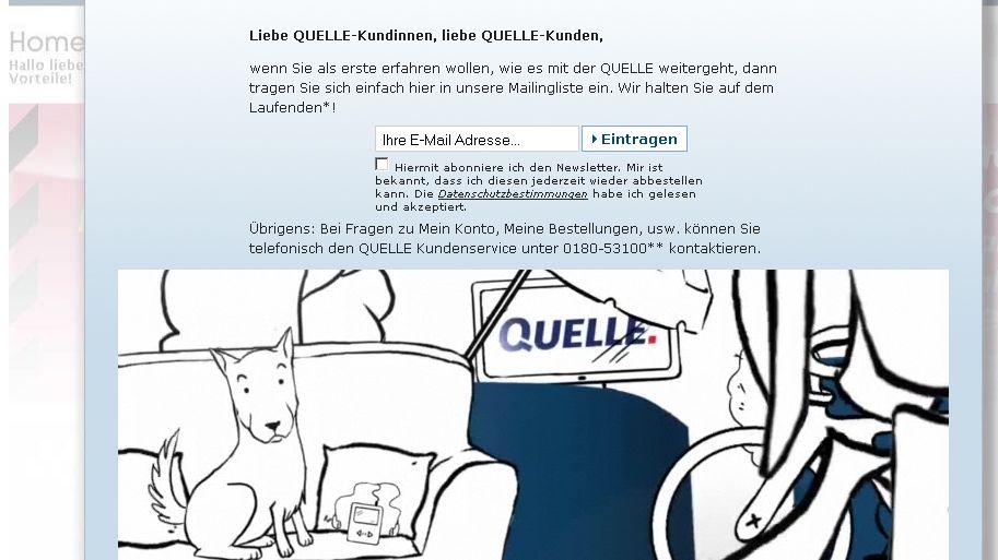 Screenshot des neuen Onlinemarktplatzes: Quelle.de bietet alles rund um Wohnen und Haushalt an