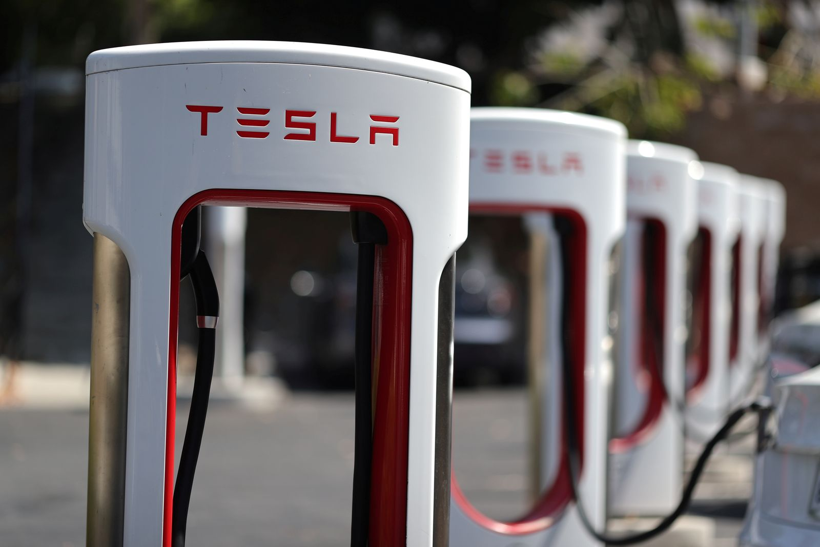 A Tesla SuperCharger station is seen in Los Angeles