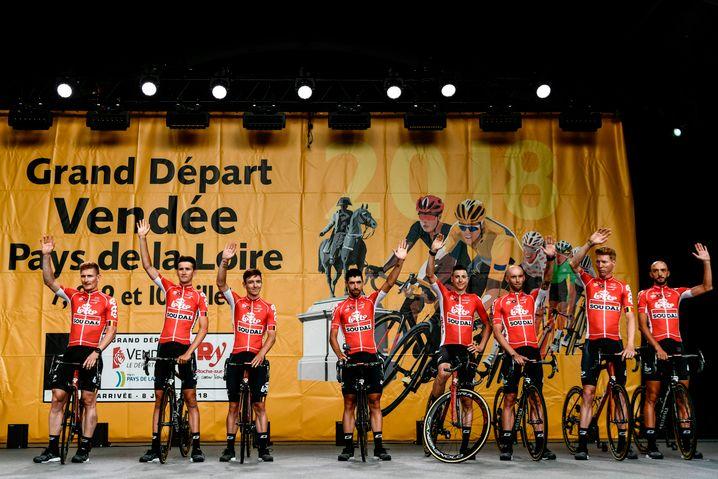 Team Lotto Soudal mit den Deutschen Andre Greipel (ganz links) und Marcel Sieberg (zweiter von rechts)