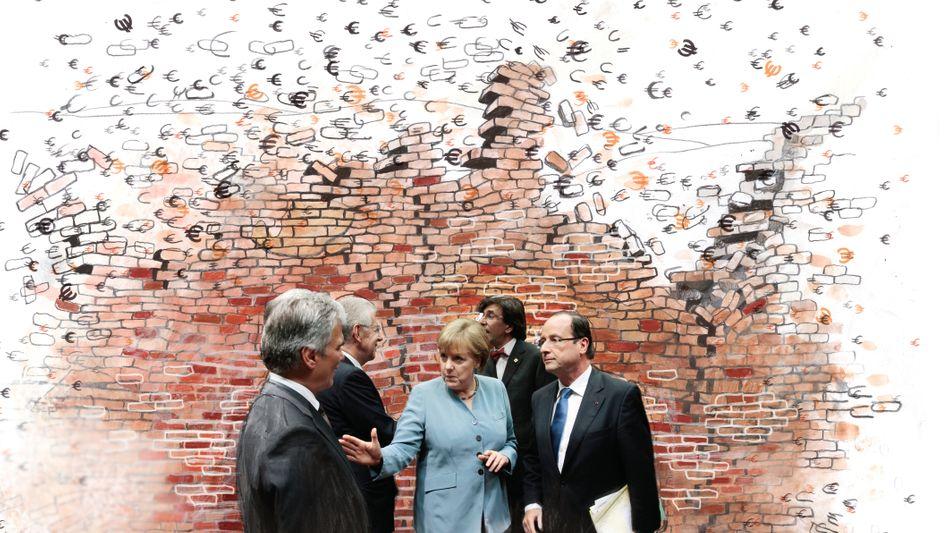 Wenig Einigkeit im Detail: Angela Merkel mit Kollegen Hollande (Frankreich, r.), Monti (Italien, 2. v. l.) und Faymann (Österreich, l.).