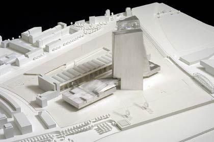 Sieger-Modell: Coop Himmelb(l)au aus Wien, Österreich, gewann den Architekturwettbewerb der EZB