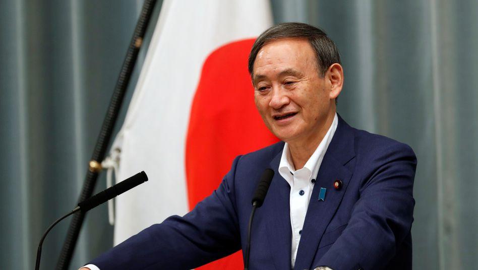 Japans Ministerpräsident Suga bei einer Rede im September.