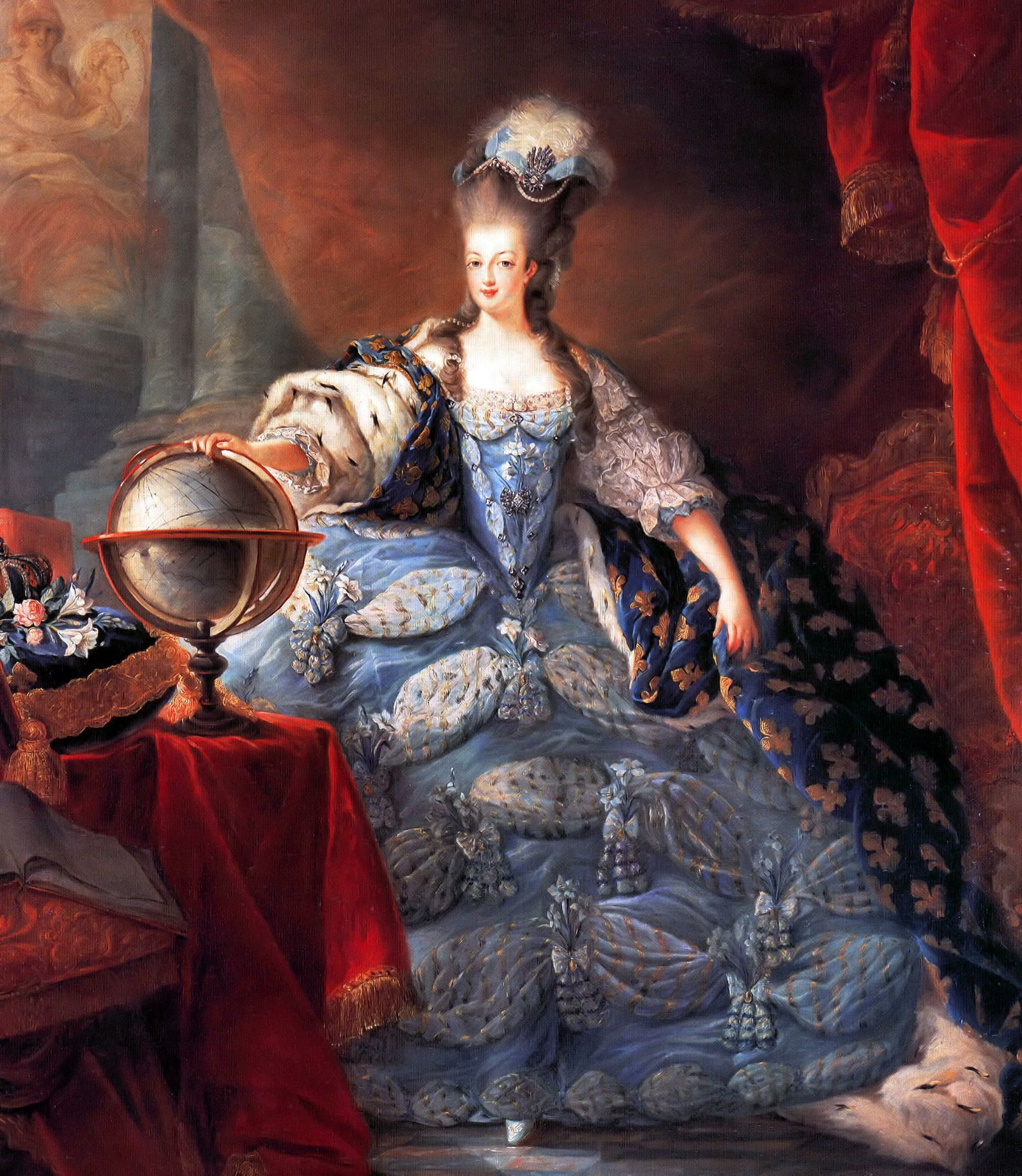 Marie Antoinette, Queen Consort of France (1755 - 1793). Marie Antoinette, Queen of France, in coronation robes by Jean-Baptiste Gautier Dagoty, 1775