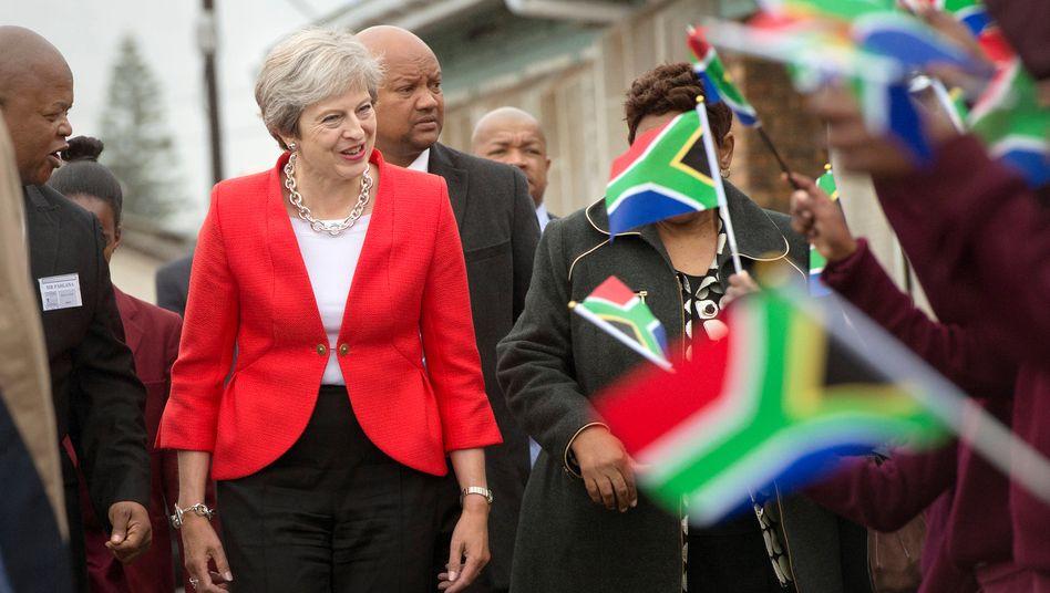 Theresa May bei ihrem Besuch in Südafrika in der Nähe von Cape Town