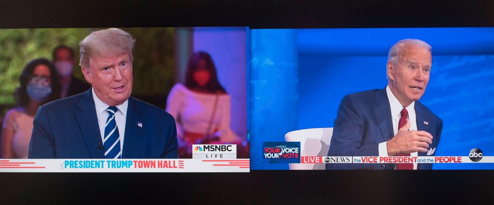 October 15, 2020, New York, New York, USA - A screen grab from the ABC and MSNBC broadcasts of dueling town halls featu
