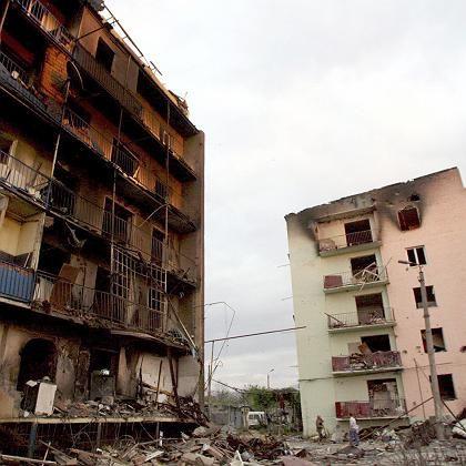 Ausgebrannt: Wohnblock in Gori